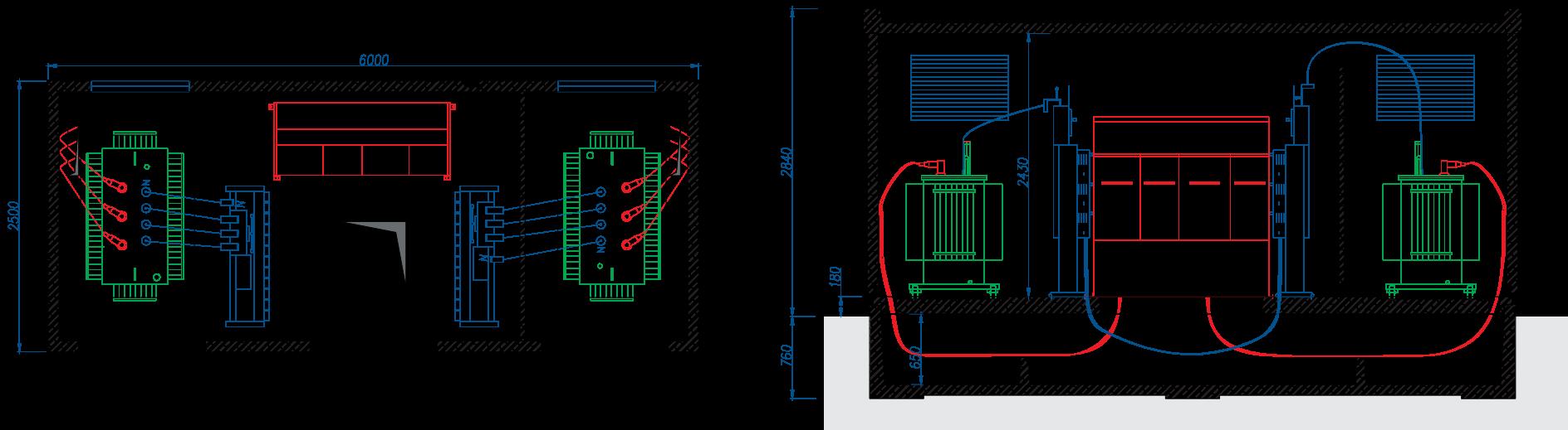 Rzut stacji transformatorowej BEK 250/600