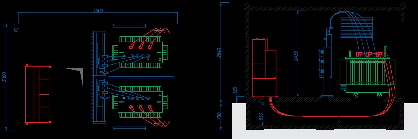Rzut stacji transformatorowej BEK 300/450