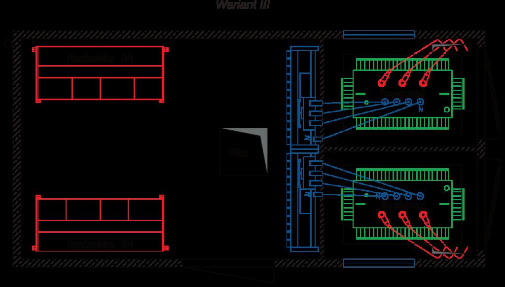 Rzut stacji transformatorowej typu BEK 300/600 - wariant III