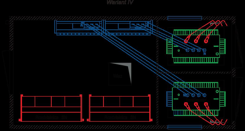 Rzut stacji transformatorowej typu BEK 300/600 - wariant IV