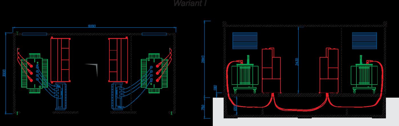 Rzut stacji transformatorowej BEK 300/600 - wariant I