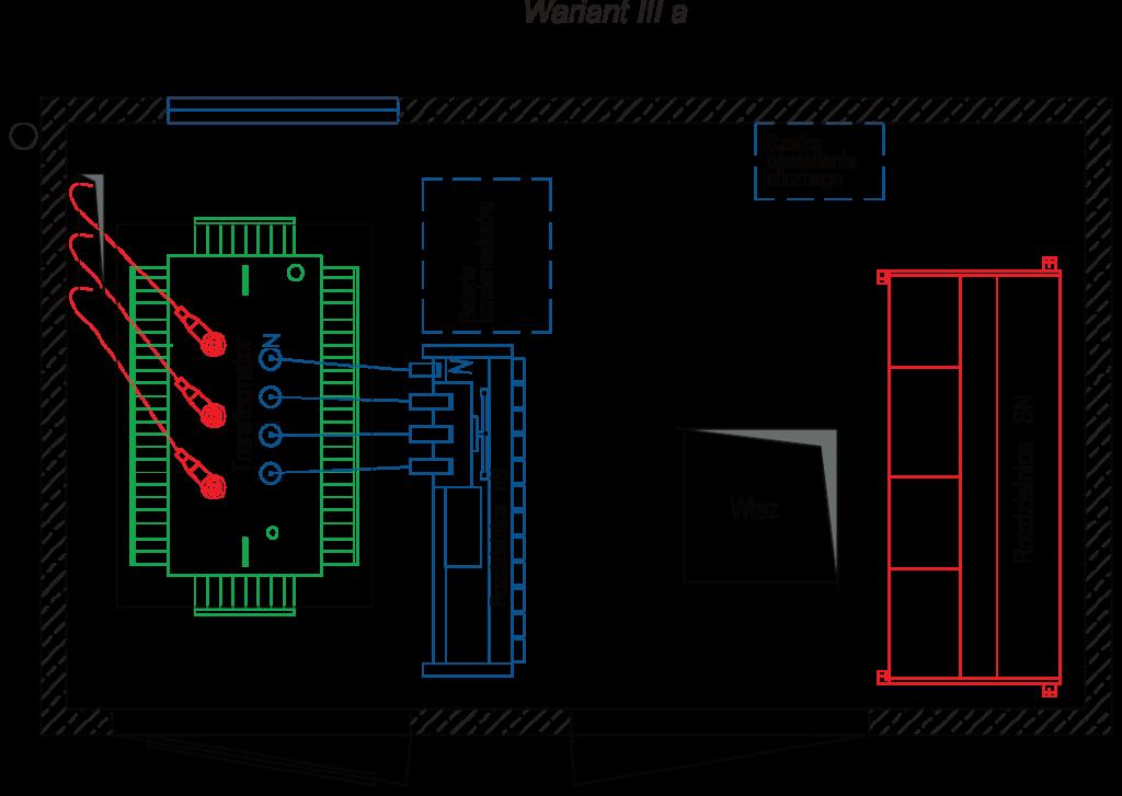 Rzut stacji transformatorowej BEK 250/420 - wariant IIIa