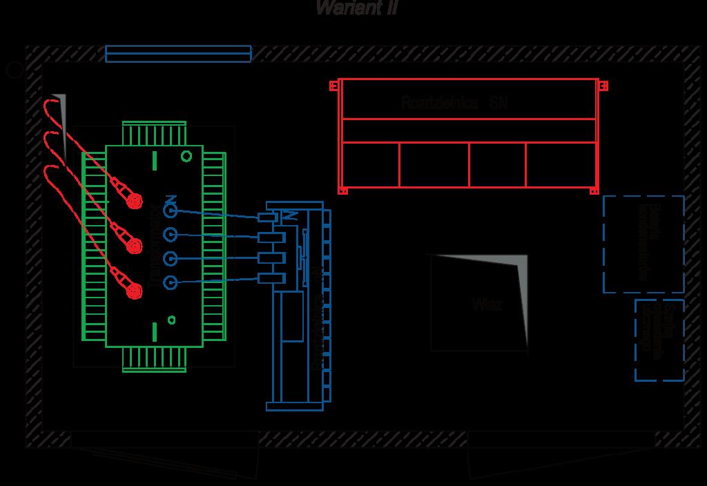 Rzut stacji transformatorowej BEK 250/420 - wariant II