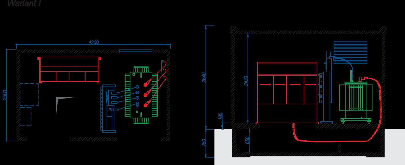 Rzut stacji transformatorowej BEK 250/420