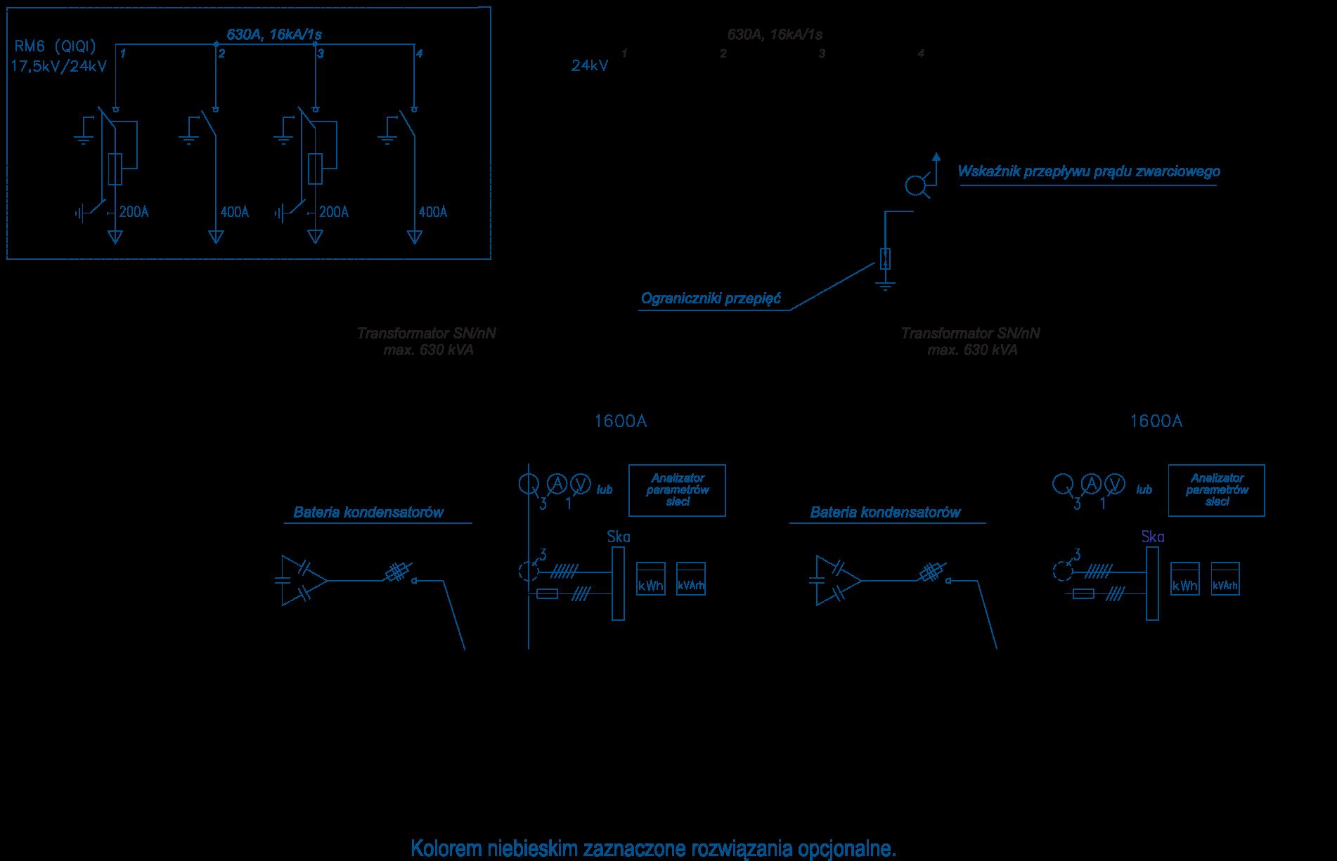 Schemat stacji transformatorowej BEK 250/600