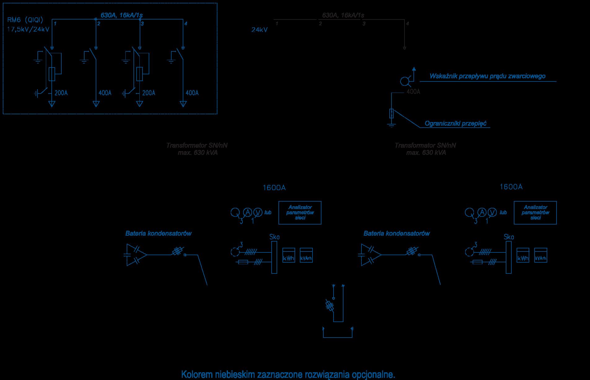 Schemat stacji transformatorowej BEK 300/450