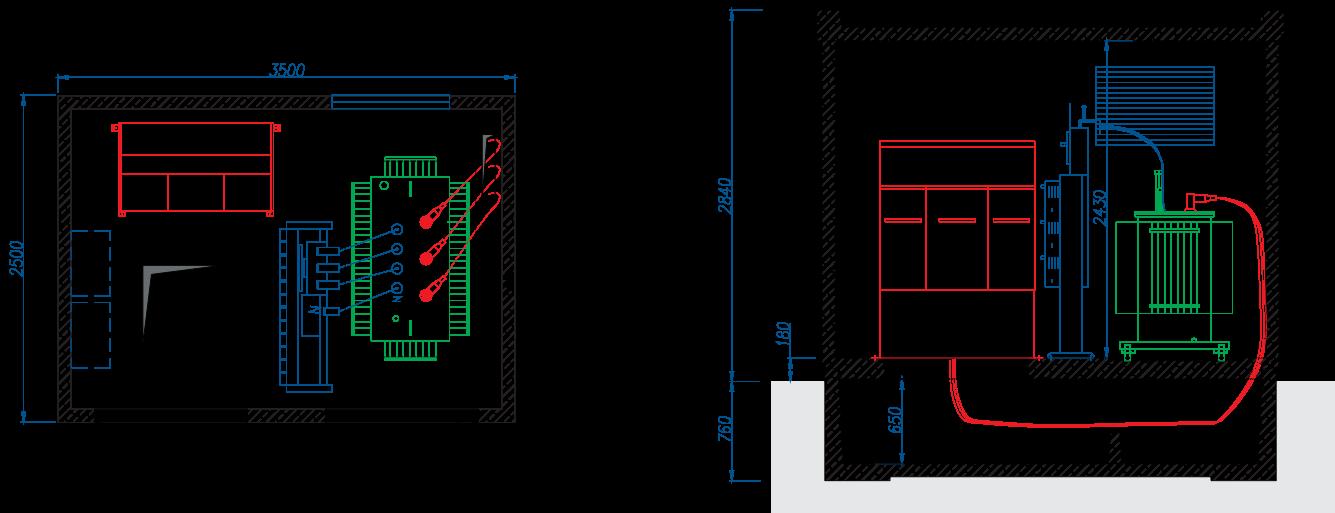 Rzut stacji transformatorowej BEK 250/350
