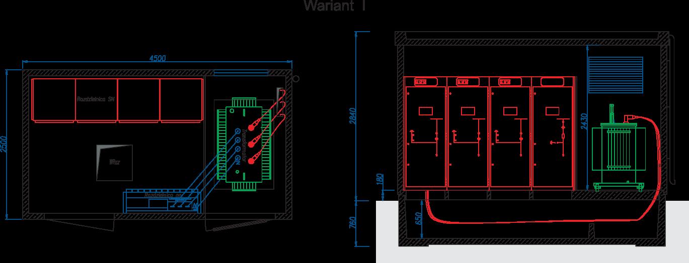 Rzut stacji transformatorowej typu BEK 250/450