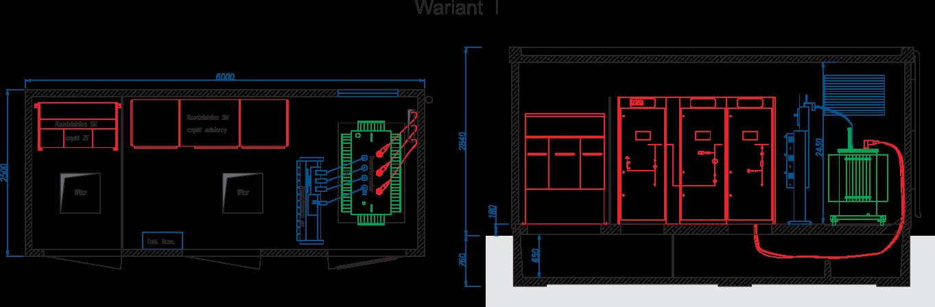 Rzut stacji transformatorowej typu BEK 250/600