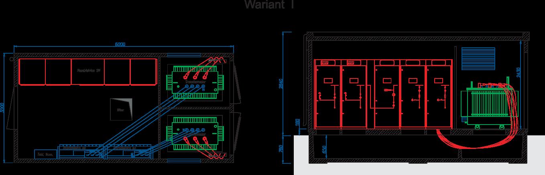 Rzut stacji transformatorowej typu BEK 300/600