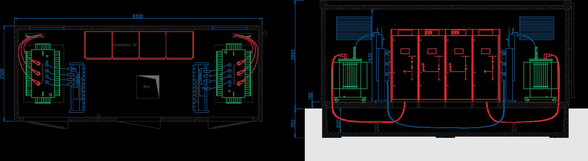 Rzut stacji transformatorowej typu BEK 250/650